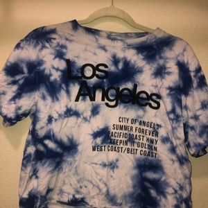 Blue and white tie dye mighty fine T